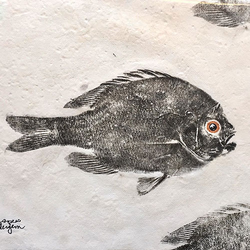 Artist Cat Wondergem (Gyotaku Prints)