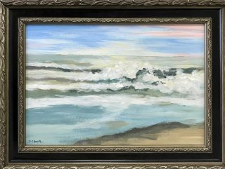 "Sold. ""Shore Study"", 7""x10"" acrylic on paper by Deborah I. Smith. Thanks to the nice couple who will give this little painting a new home! #artharborgallery #acrylicart #seascape #ocean #waves #beachlife #pawleysislandsc"