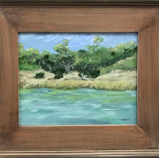 """En Plein Air"", The French term plein air means out of doors and refers to the practice of painting entire finished pictures out of doors. Here are 3 examples you can see at Art Harbor today. The artists are Deb Smith, Joanne Willoughby, & Debanjana Bhattacharjee, and all are small (8x10 or smaller) originals. #artgifts #galleryart #artharborgallery #pleinair #landscape #pawleysislandsc ##blueridgemountains"