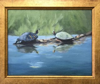 "Because art is a great gift, we've reduced prices on many of our ""Smalls"" including shelf-size 8x10s! Browse and shop, daily except Tuesdays #gallery #artharborgallery #artgifts #turtles"